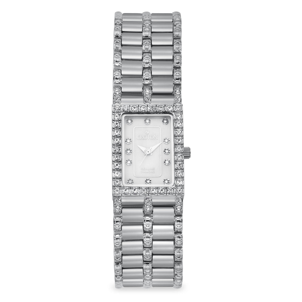 "Croton Ladies ""Balliamo"" Rectangular Watch with Diamond Markers & Crystal Bezel"