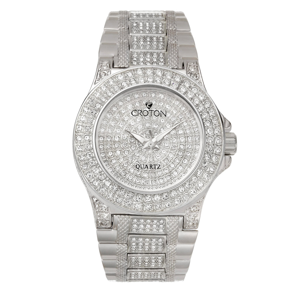 "Croton Ladies Silvertone ""Balliamo"" Watch with Full Austrian Crystal Dial & Case & Beveled Crystal"