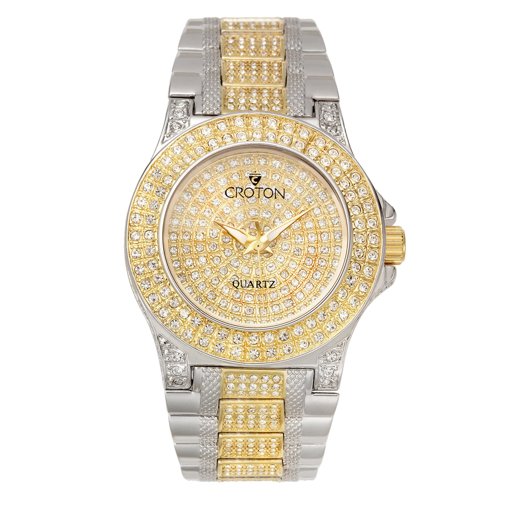 "Croton Ladies Two Tone ""Balliamo"" Watch with Full Austrian Crystal Dial & Case & Beveled Crystal."