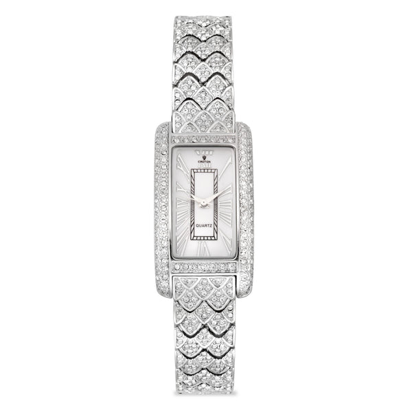 "Croton Ladies ""Balliamo"" Silvertone Rectangular Quartz Watch with Crystal Bezel & Bracelet"