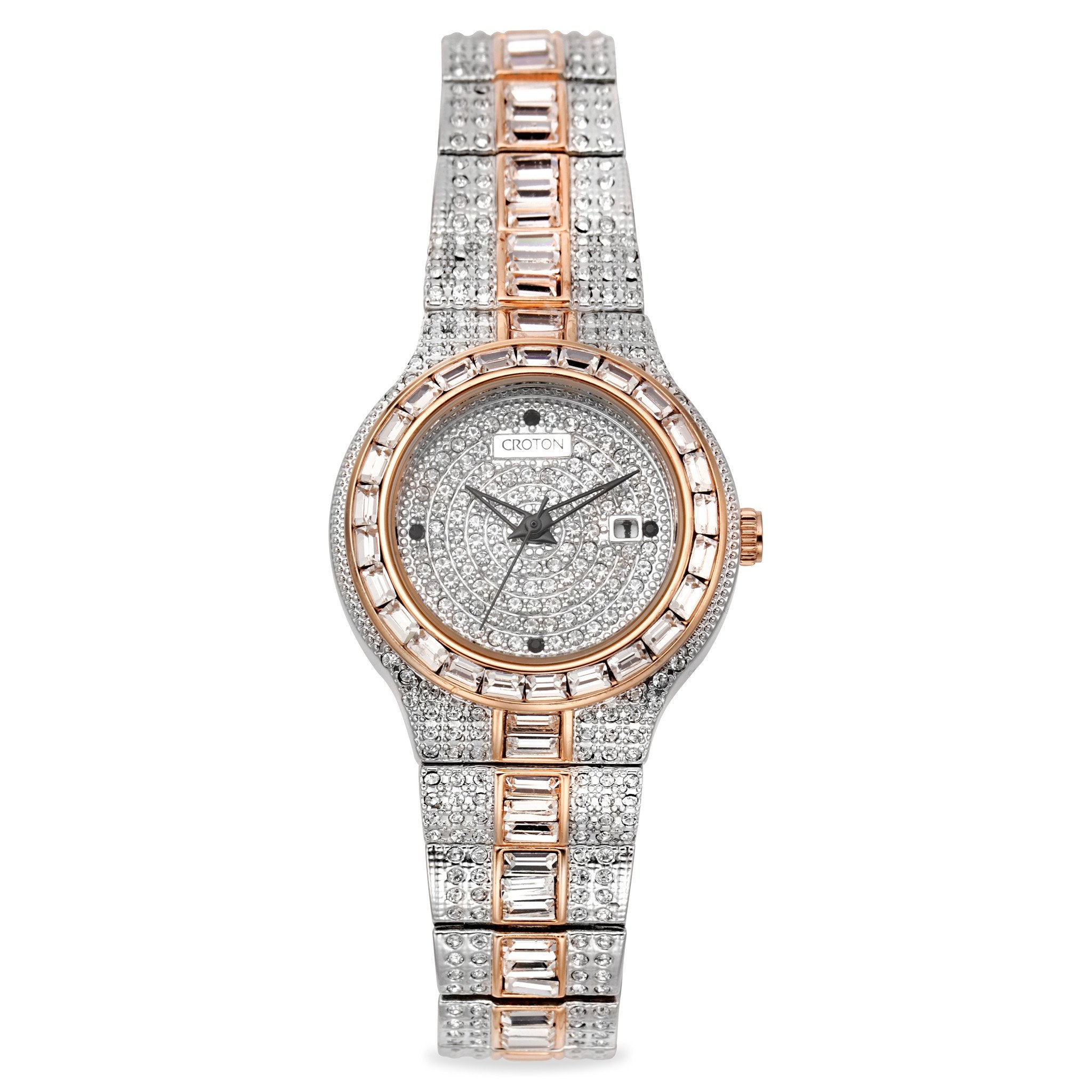Croton ladies balliamo two tone quartz watch with austrian baguettes croton group for Crystal ladies watch