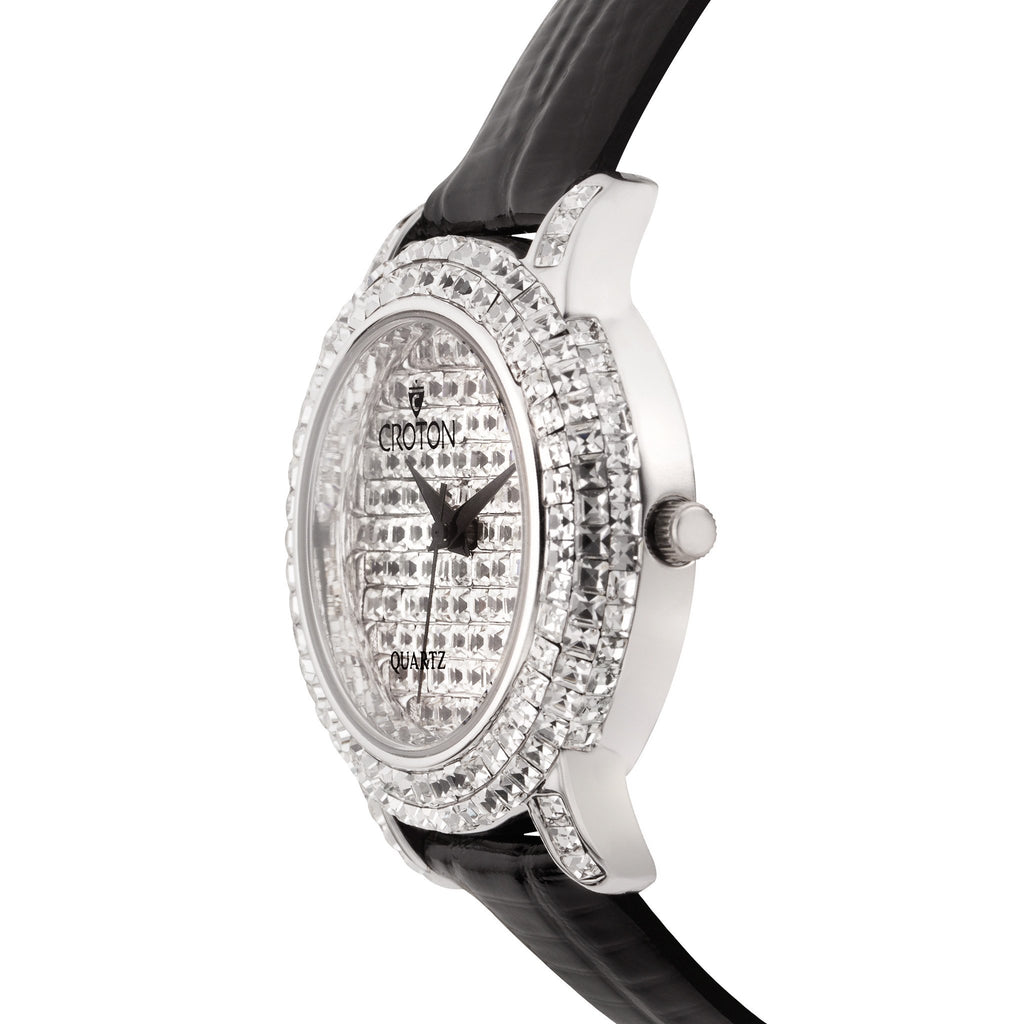 "Croton Ladies ""Balliamo"" Silvertone Quartz Strap Watch with Square Austrian Crystals"