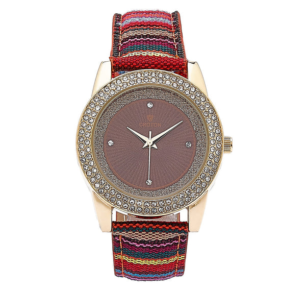 Ladies Sunburst Dial Watch with Crystal Bezel & Multi-Colored Strap