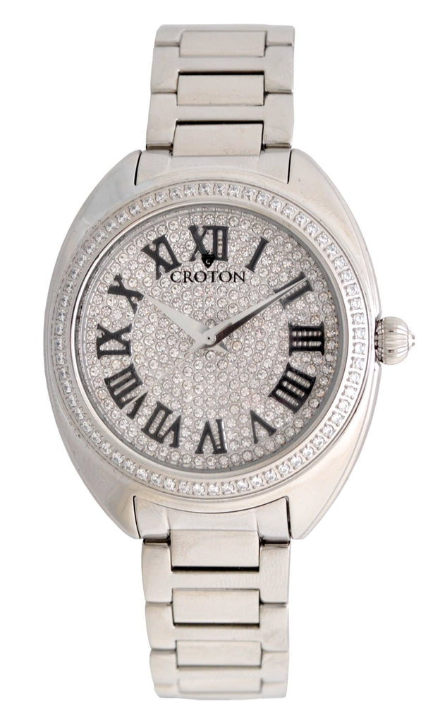 Ladies Silvertone Swiss Quartz Watch with Set CZ Bezel and Pave Dial