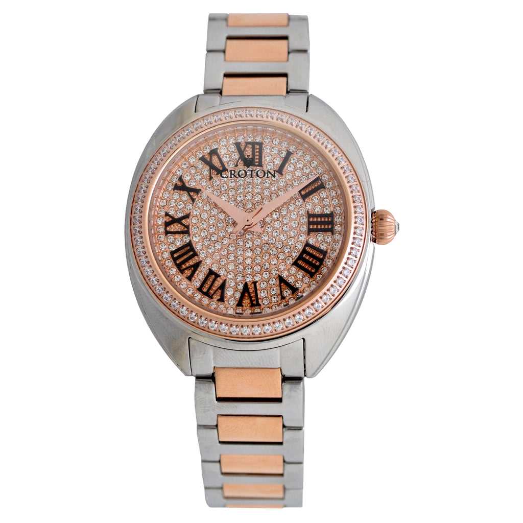 Ladies Two Tone Swiss Quartz Watch with Set CZ Bezel and Pave Dial