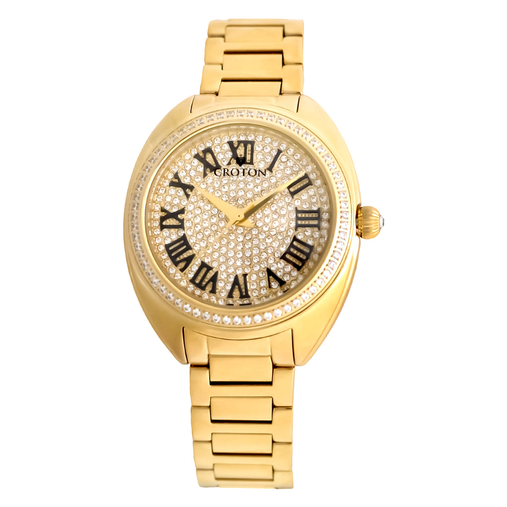 Ladies Goldtone Swiss Quartz Watch with Set CZ Bezel and Pave Dial