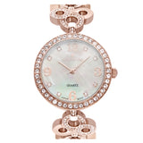 Ladies Rosetone Mother of Pearl Dial Watch with Crystal Bezel & Bracelet