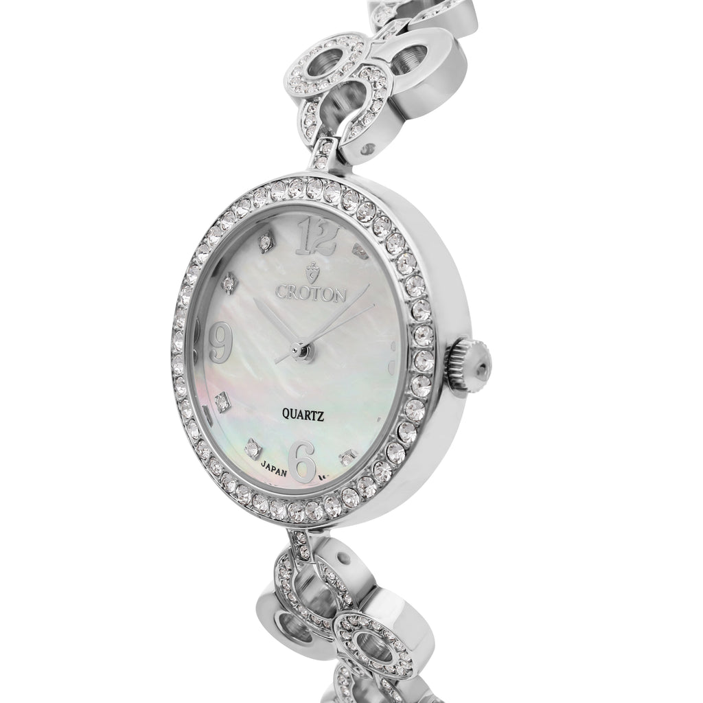 Ladies Silvertone Mother of Pearl Dial Watch with Crystal Bezel & Bracelet