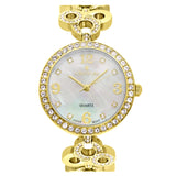 Ladies Goldtone Mother of Pearl Dial Watch with Crystal Bezel & Bracelet