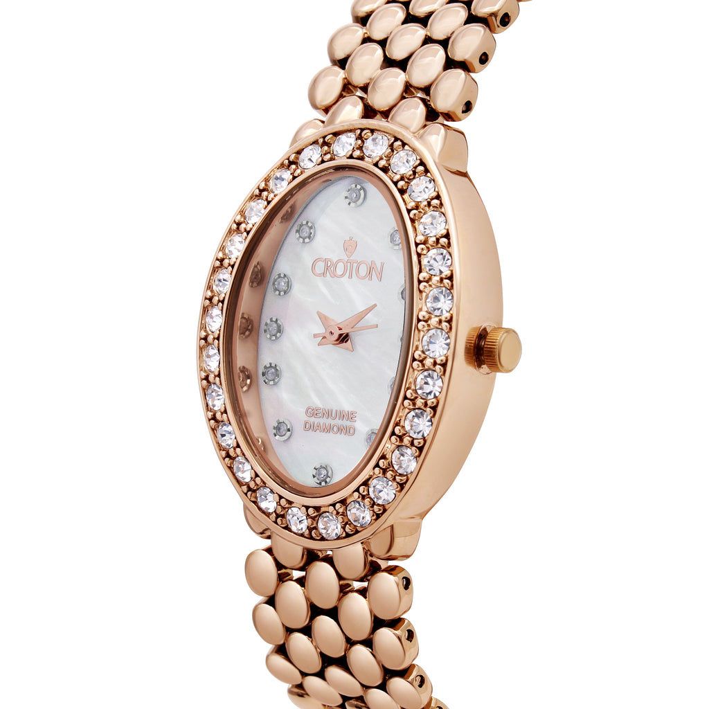 Croton Ladies Rosetone Oval Mother of Pearl Dial Watch with Diamond Markers