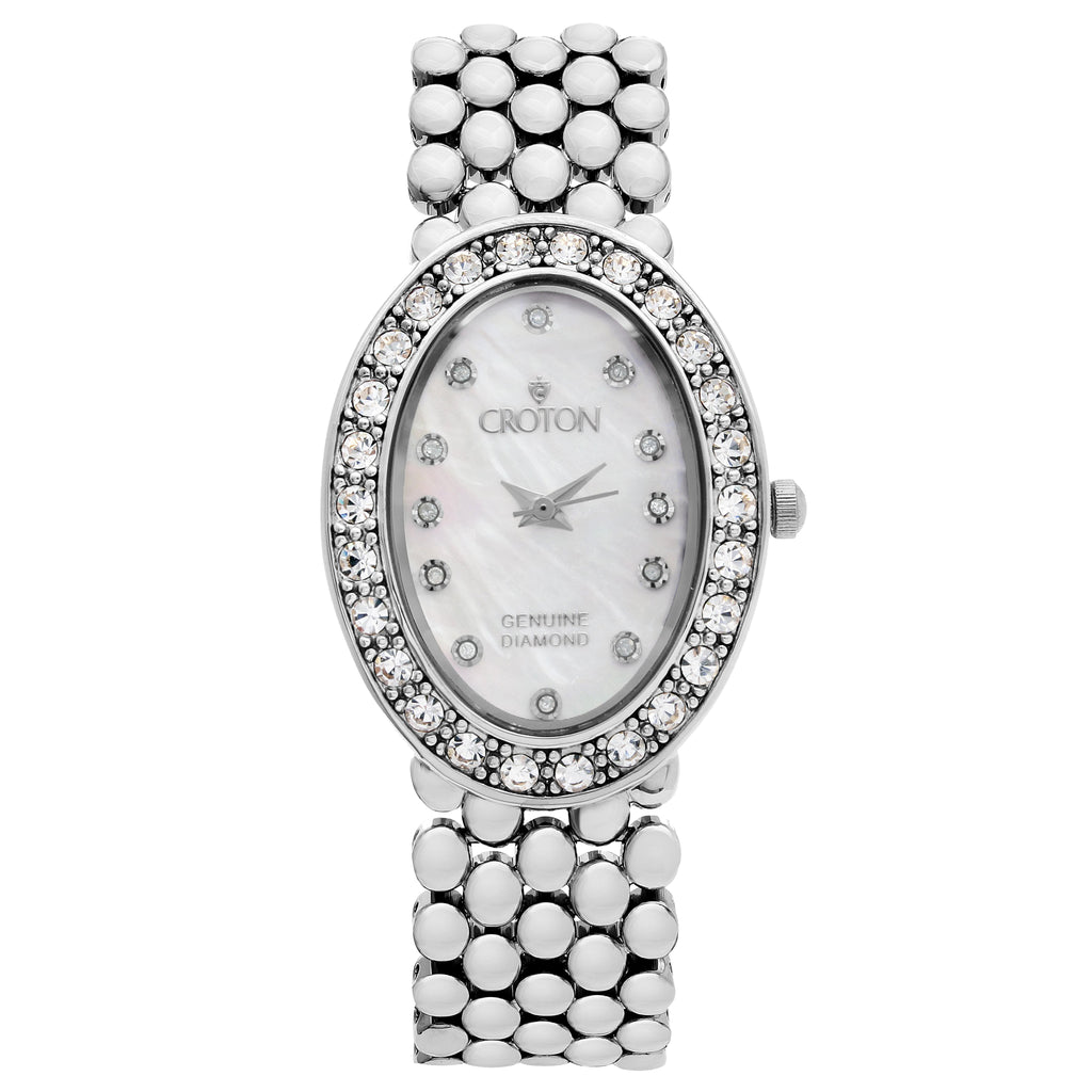 Croton Ladies Silvertone Oval Mother of Pearl Dial Watch with Diamond Markers
