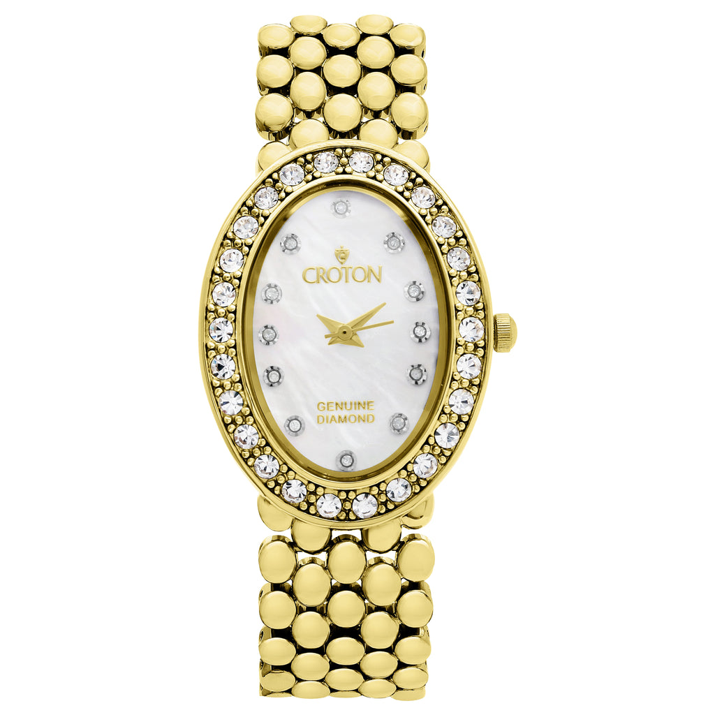 Croton Ladies Goldtone Oval Mother of Pearl Dial Watch with Diamond Markers - CROTON GROUP