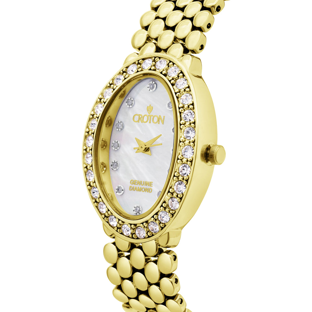 Croton Ladies Goldtone Oval Mother of Pearl Dial Watch with Diamond Markers