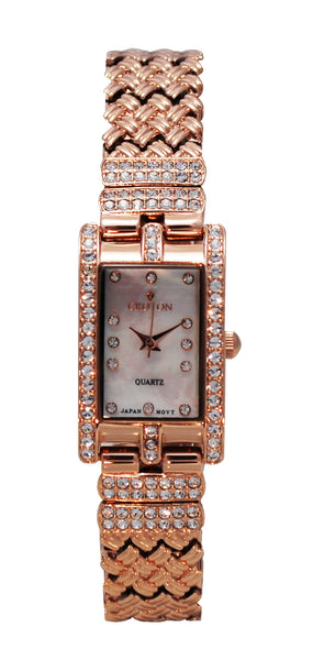 Ladies Rosetone Rectangular Watch with Mother of Pearl Dial & Crystal Bezel