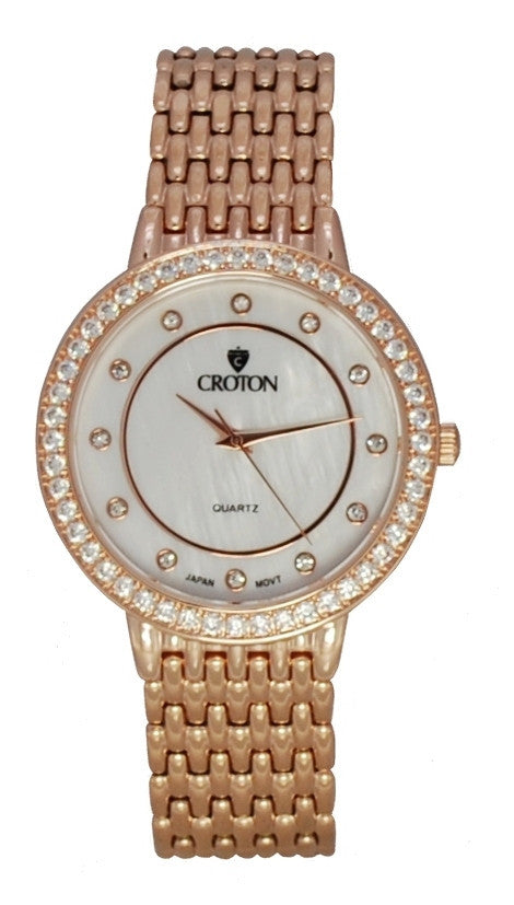 Unisex Rosetone Quartz Watch with Mother of Pearl Dial and Crystal Bezel