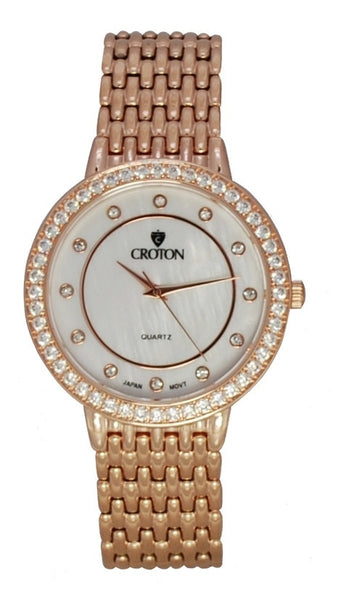 Ladies Rosetone Quartz Watch with Mother of Pearl Dial and Crystal Bezel