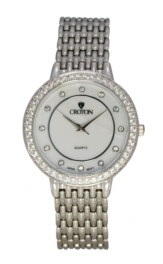 Ladies Silvertone Quartz Watch with Mother of Pearl Dial and Crystal Bezel