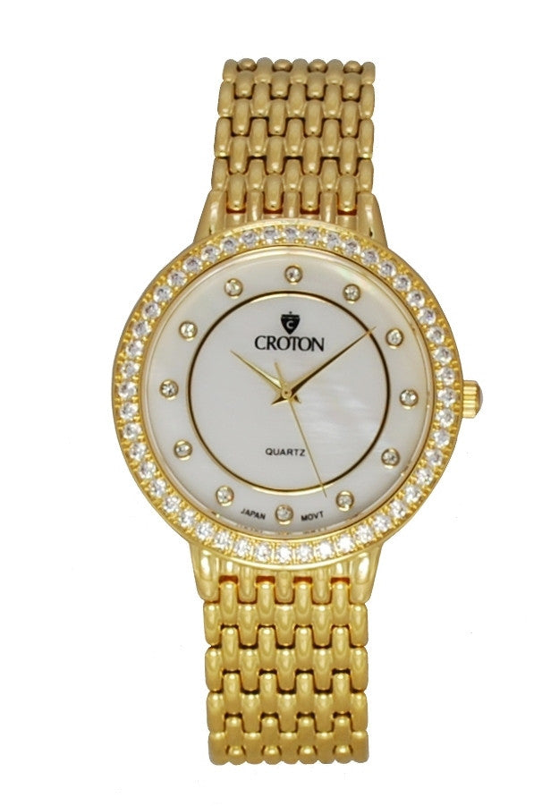 Unisex Goldtone Quartz Watch with Mother of Pearl Dial and Crystal Bezel