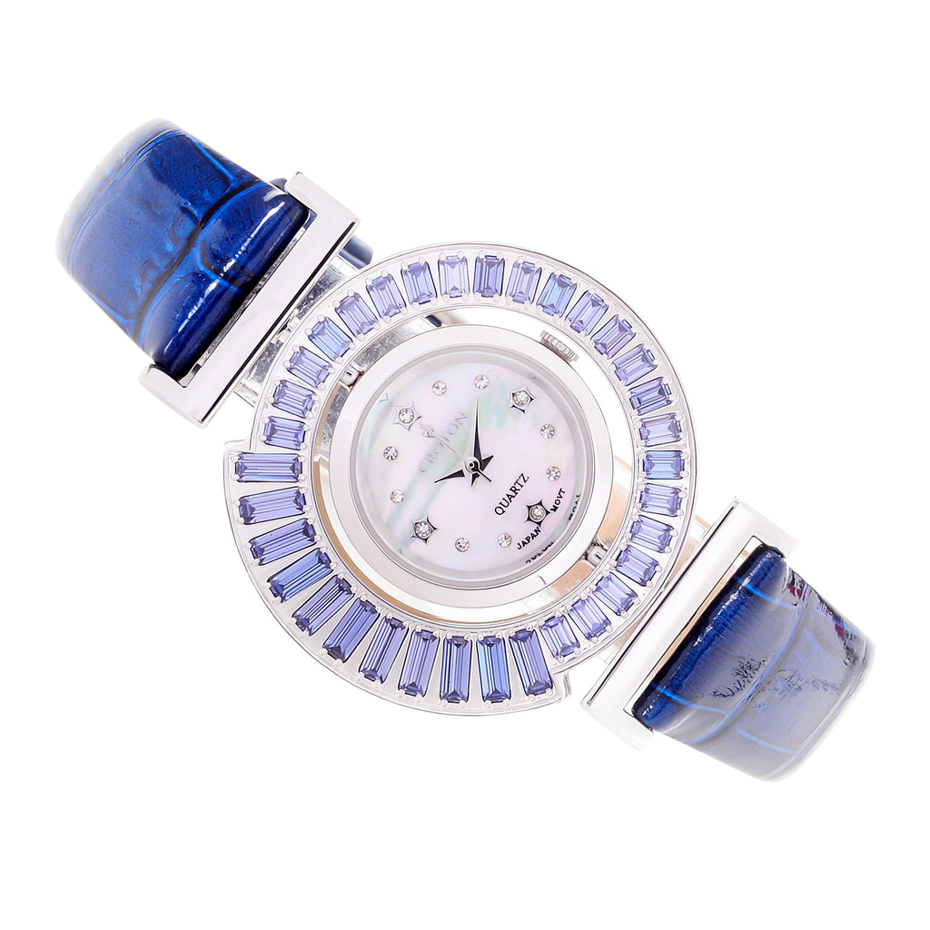 Ladies Ballroom Quartz Reversible Bezel Crystal Accented Blue Leather Strap