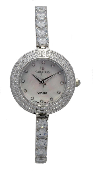 Ladies Silvertone Bolero  CZ Watch and Bracelet set