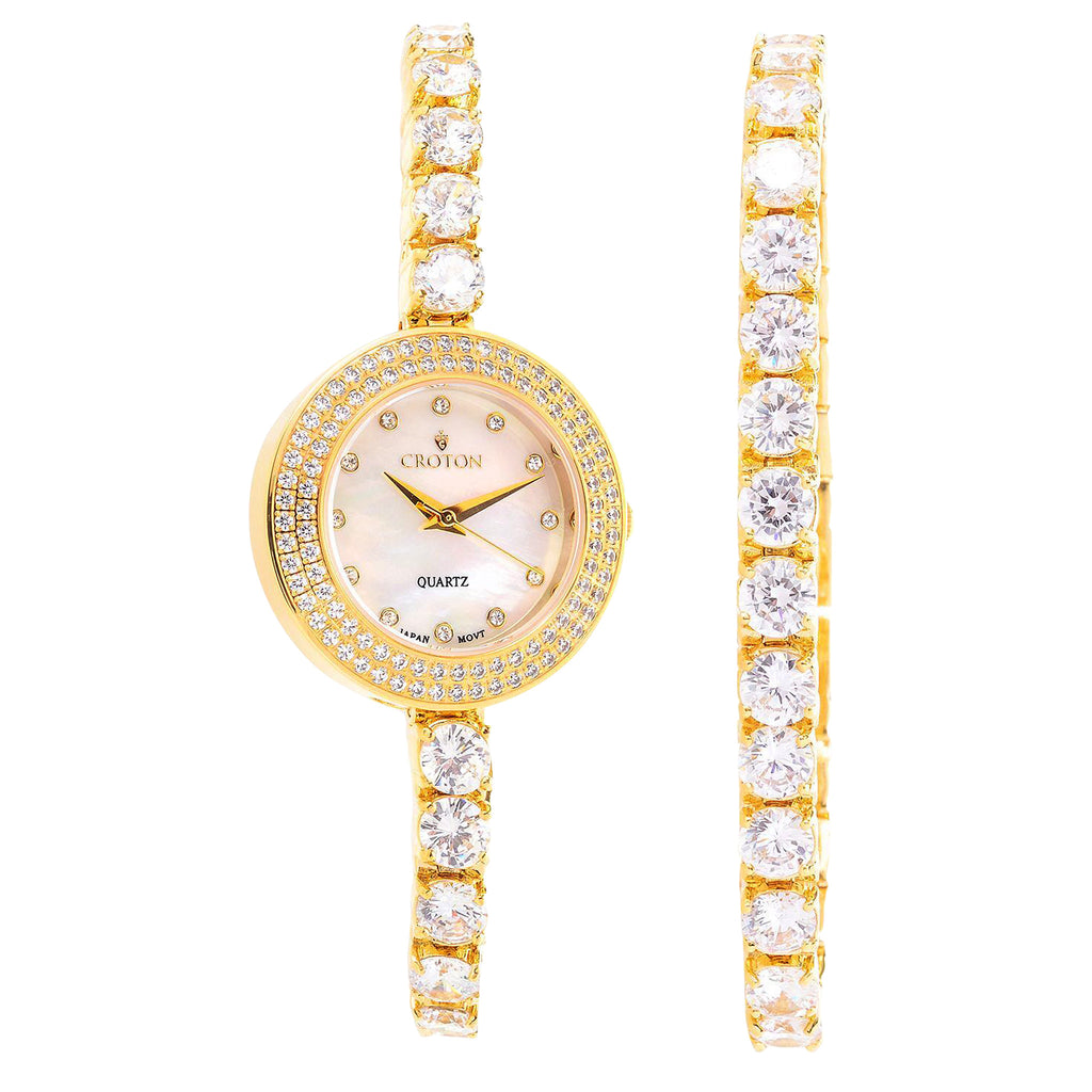 Ladies Goldtone Bolero  CZ Watch and Bracelet set