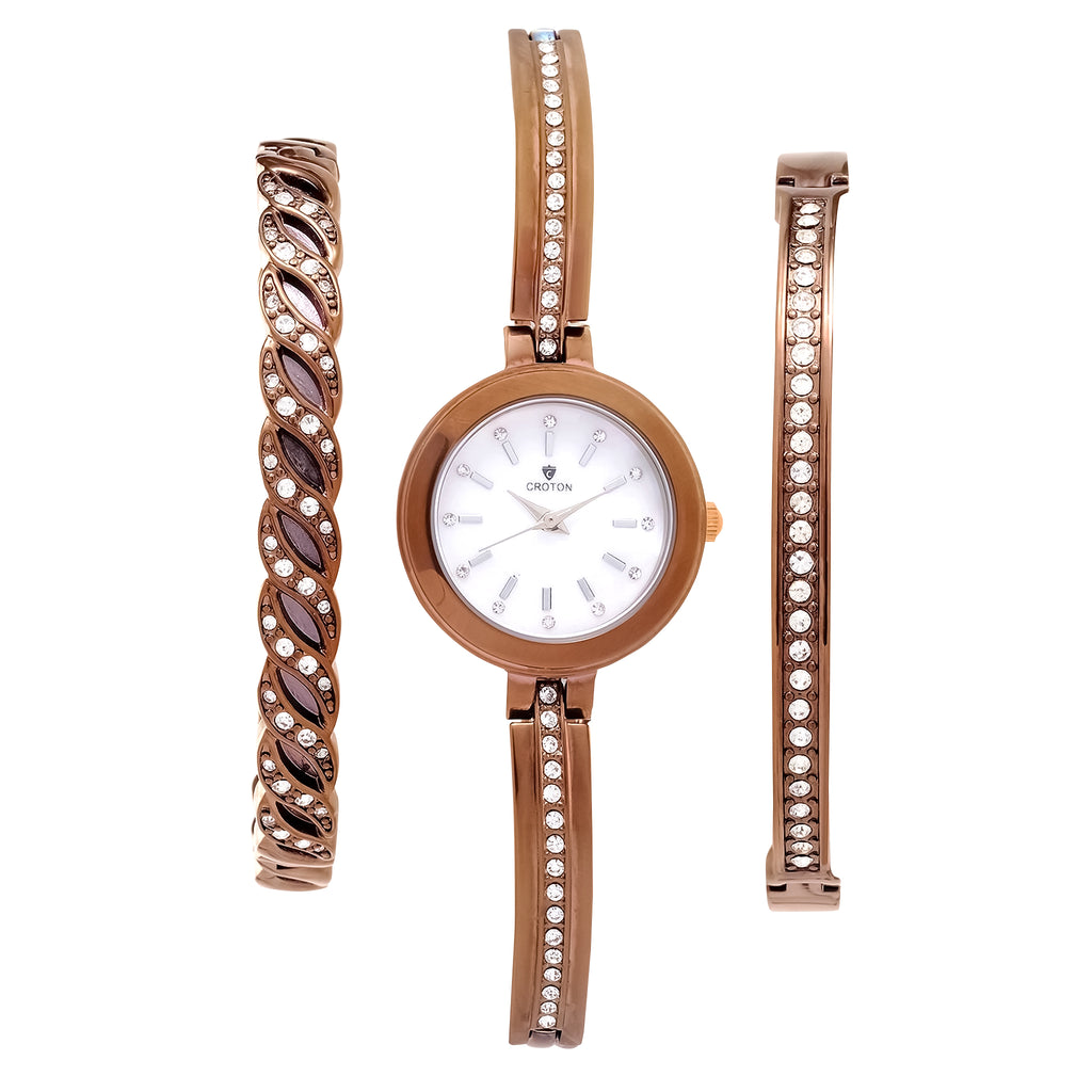 Ladies Quartz watch set with Two Coordinating Bracelets