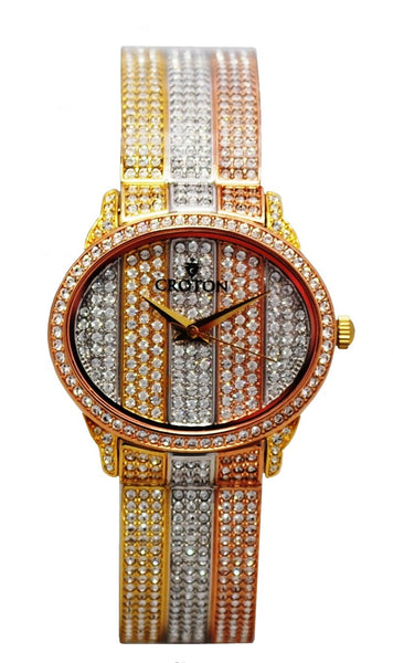 Ladies Tri-Colored Crytsal Bangle Watch with Tri-Colored Pave Dial