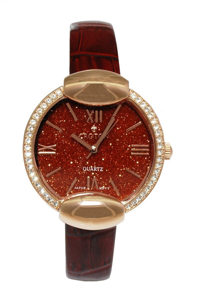 Ladies Rosetone Natural Red Sand Stone Marble  Dial with Crystal Bezel