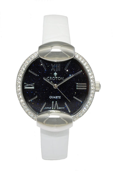 Ladies Silvertone Natural  Blue Sand Stone Dial with Crystal Bezel