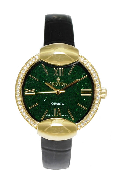 Ladies Goldtone Natural Green Sand Stone Marble Dial with Crystal Bezel