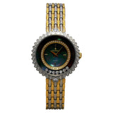 Ladies Stainless Two Tone Floating Crystal Watch with Black Mother of Pearl Dial