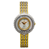 Ladies Stainless Two Tone Floating Crystal Watch with Mother of Pearl Dial
