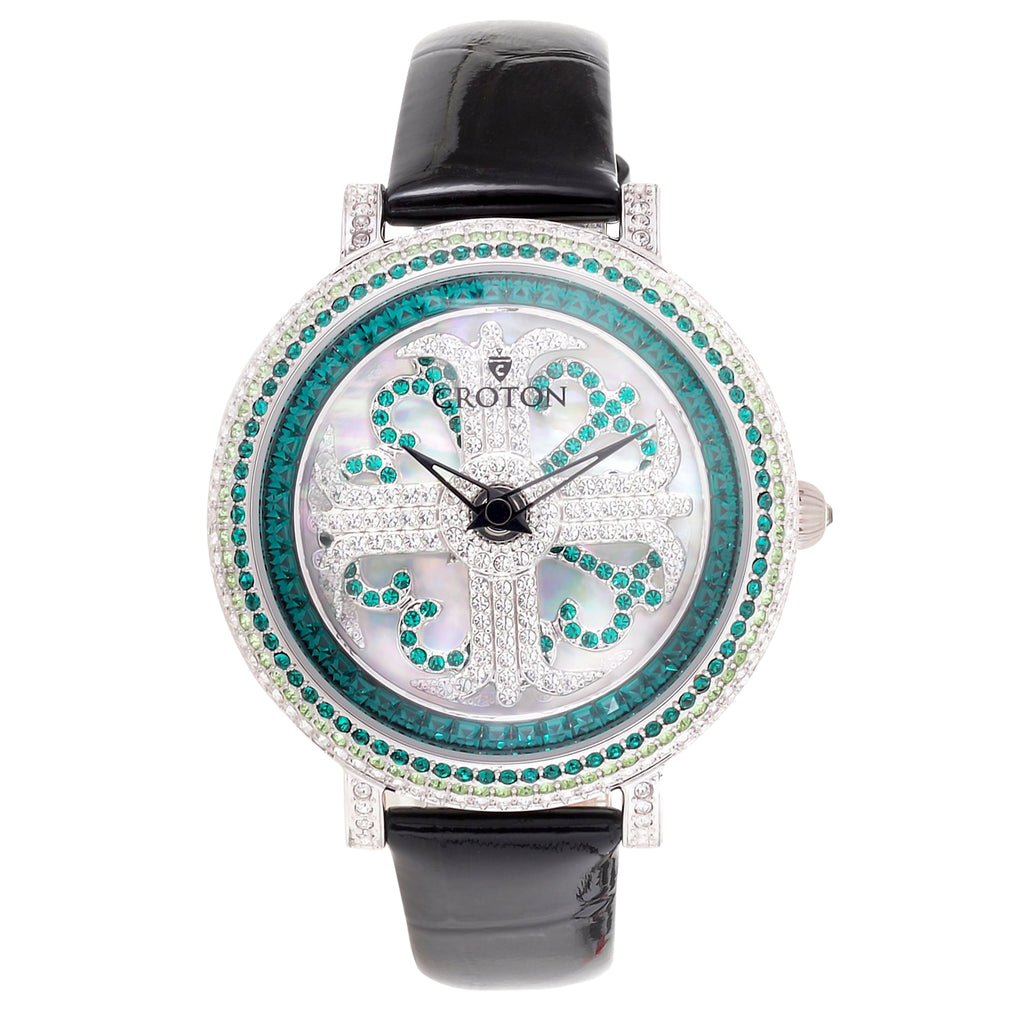 Ladies Emerald Colored Crystals Spinning Dial Watch with Leather Strap
