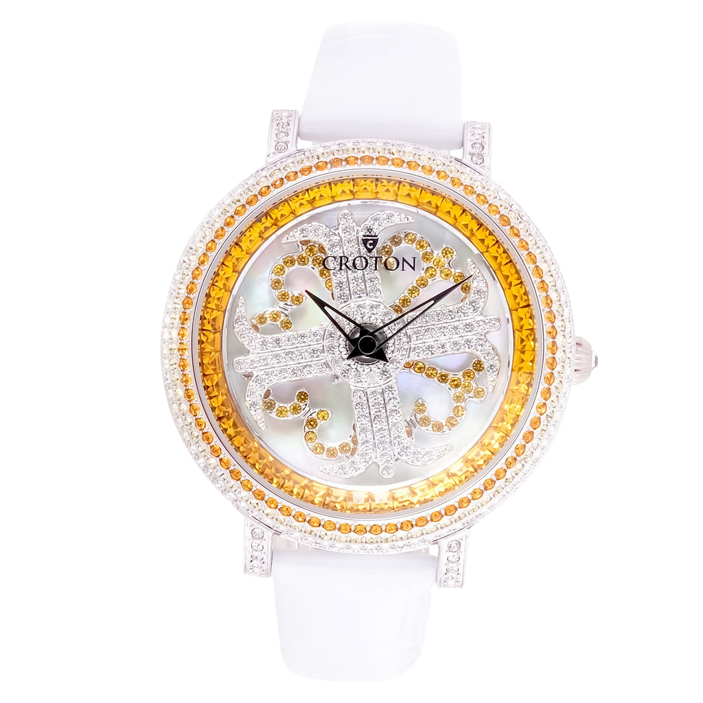 Ladies Topaz Colored Crystals Spinning Dial Watch with Leather Strap