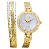 Ladies Goldtone Wrap Around Watch with Mother of Pearl Dial and Crystal Bezel