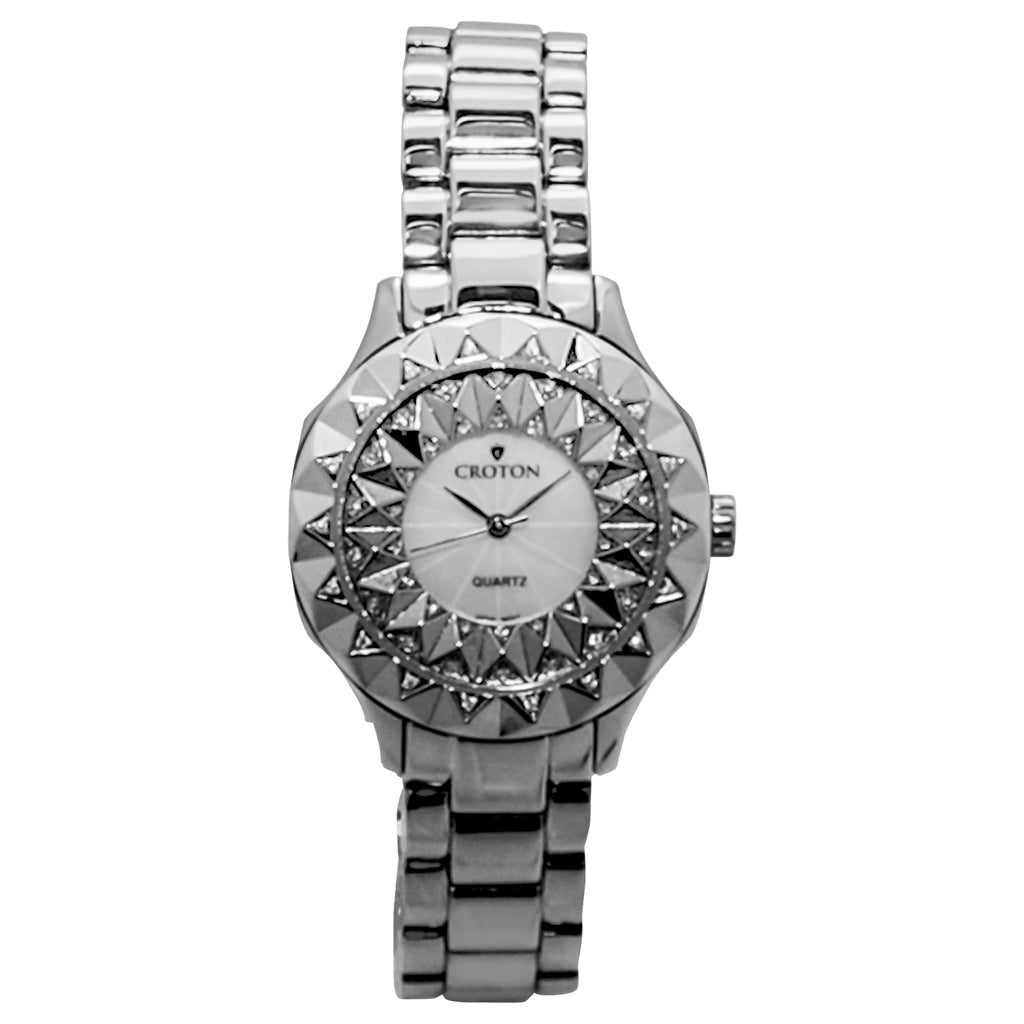 Croton Women's Quartz Crystal Accented Beveled Bracelet Watch