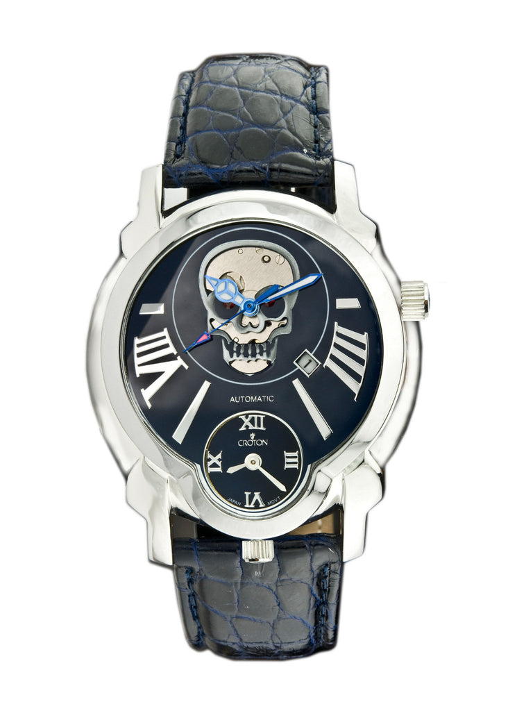 "Crotons Mens ""DAREDEVIL""  Series Watch with Skull Dial"