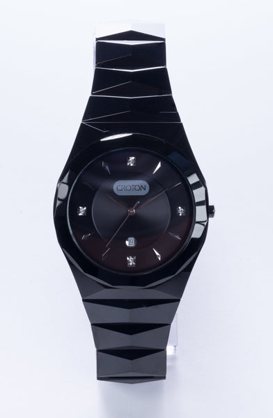 Men's Swiss Quartz Black Tungsten Bracelet Watch with Date