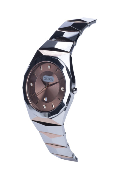 Men's Swiss Quartz Tungsten Brown Bracelet Watch with Date