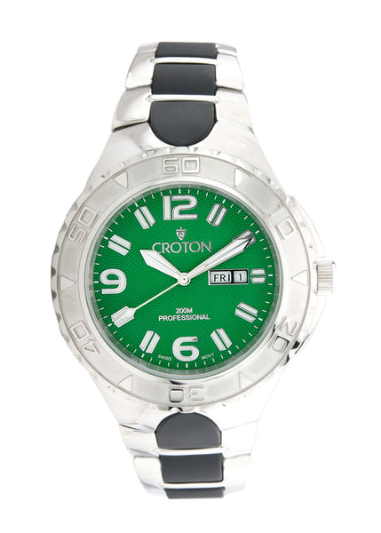 Men's All Stainless Swiss Automatic with Green Dial and Day/Date at 3:00