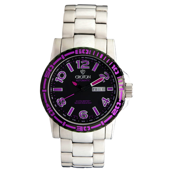 Men's All Stainless 22 Jewel Swiss Automtaic with Black Dial and Purple Accents