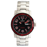 Men's All Stainless 22 Jewel Swiss Automtaic with Black Dial and Red Accents