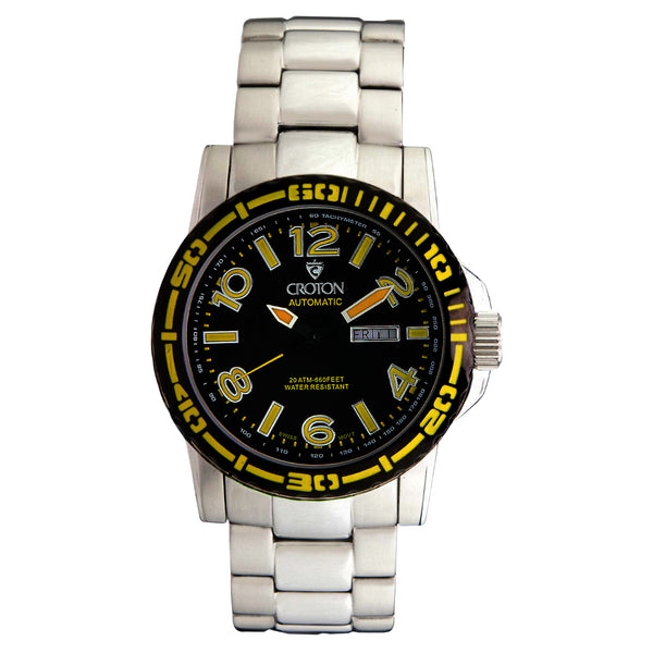 Men's All Stainless 22 Jewel Swiss Automtaic with Black Dial and Yellow Accents