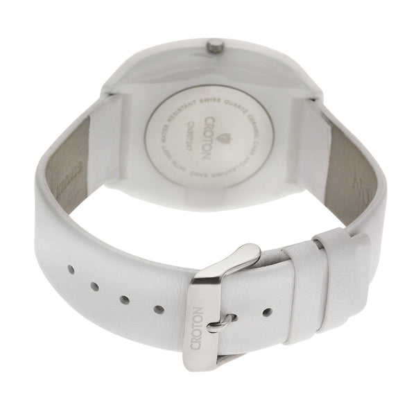 "Croton's Swiss Quartz White Ceramic ""Millennium"" Watch with Leather Strap"