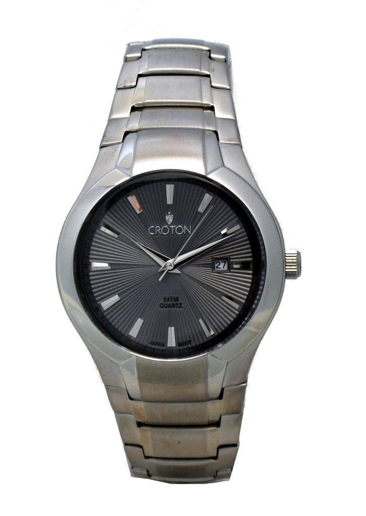 Men's Japan Quartz All Stainless Steel Gray Dial Bracelet Dress Watch with Date