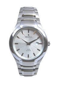 Men's Japan Quartz All Stainless Steel Silver Dial Bracelet Dress Watch with Date