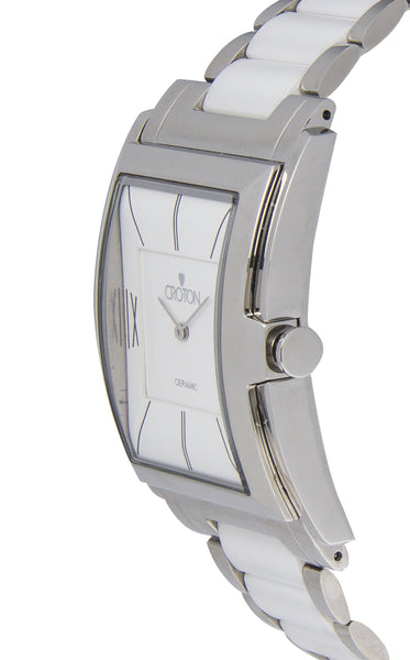 Men's Swiss Quartz White Ceramic & Stainless Steel Rectangular Dress Watch