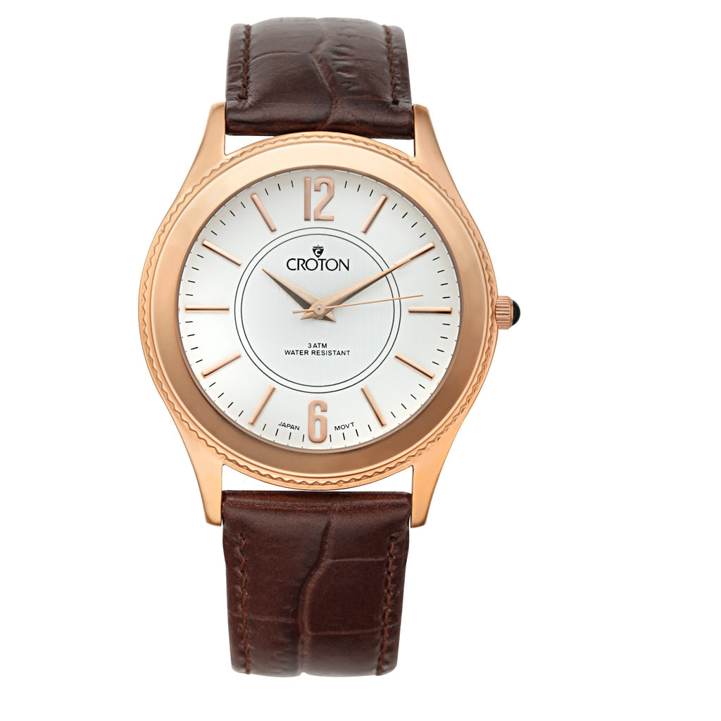 "Croton Men's Stainless Steel Rosetone ""Heritage"" Watch with Brown Leather Strap"
