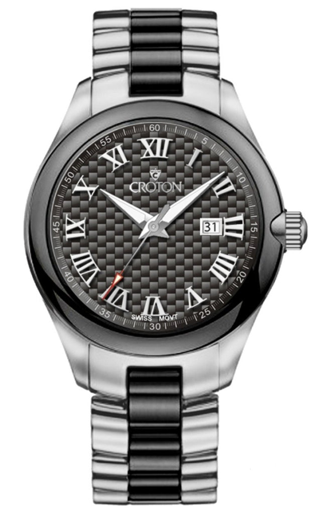 Croton Tungsten and Ceramic Swiss Quartz Carbon Fiber Dial Gents Watch
