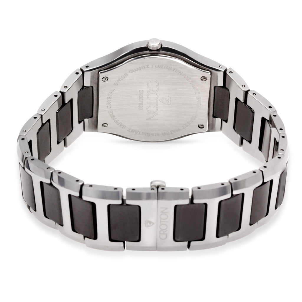 "Croton  Men's ""Millennium"" Tungsten & Ceramic Swiss Quartz Watch with Date"
